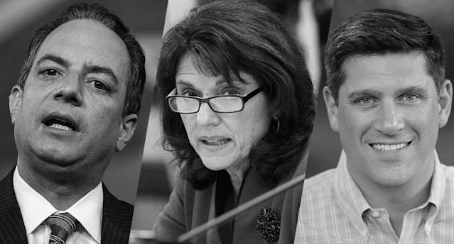 Former White House chief of staff Reince Priebus, far left, Wisconsin state Sen. Leah Vukmir and first-time U.S. Senate candidate Kevin Nicholson. (Photos: Andrew Harnik/AP, Mark Hoffman/Milwaukee Journal Sentinel/AP, Kevin Nicholson/AP)