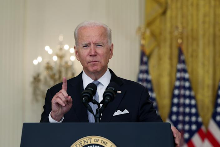 President Joe Biden delivers remarks on the worsening crisis in Afghanistan from the East Room of the White House August 16, 2021 in Washington, DC. (Anna Moneymaker/Getty Images)