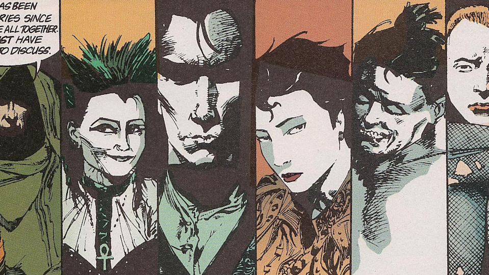 Drawings of the Endless, each in their own panel, from The Sandman comic