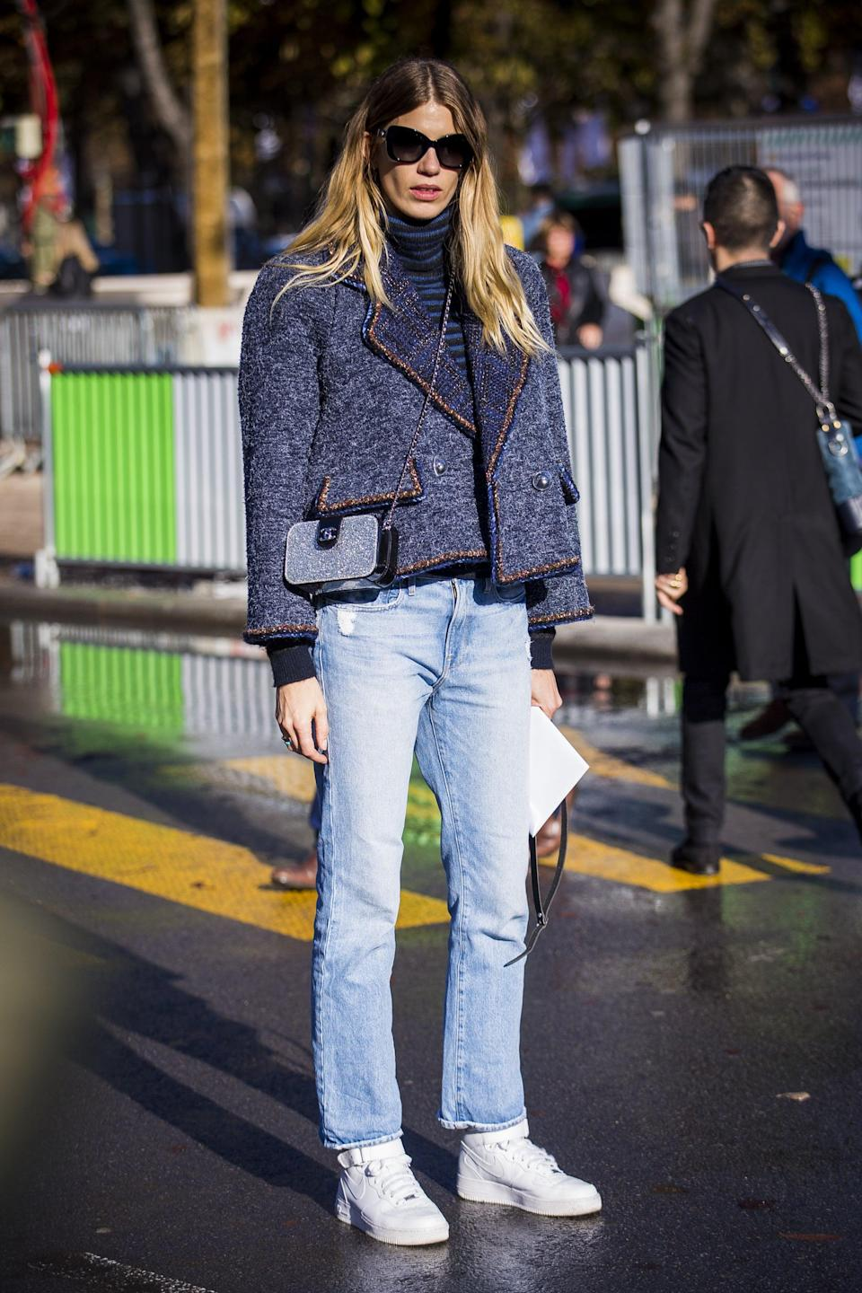 <p>A pale wash and sporty sneakers relax the look of a tweed jacket.</p>