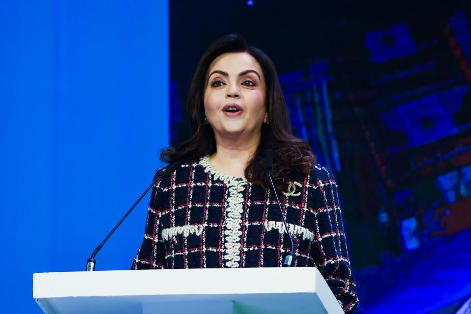 Indian President of Football Sports Development Ltd, Nita Ambani, speaks at an event with CEO of English Premier League football club Manchester City and City Football Group (CFG) Ferran Soriano (not pictured) in Mumbai November 28, 2019. - Manchester City & # Parent company City Football Group announced on November 28 that it has purchased a controlling stake in the city of Mumbai, expanding its global team empire.  (Photo by Indranil MUKHERJEE / AFP) (Photo by INDRANIL MUKHERJEE / AFP via Getty Images)