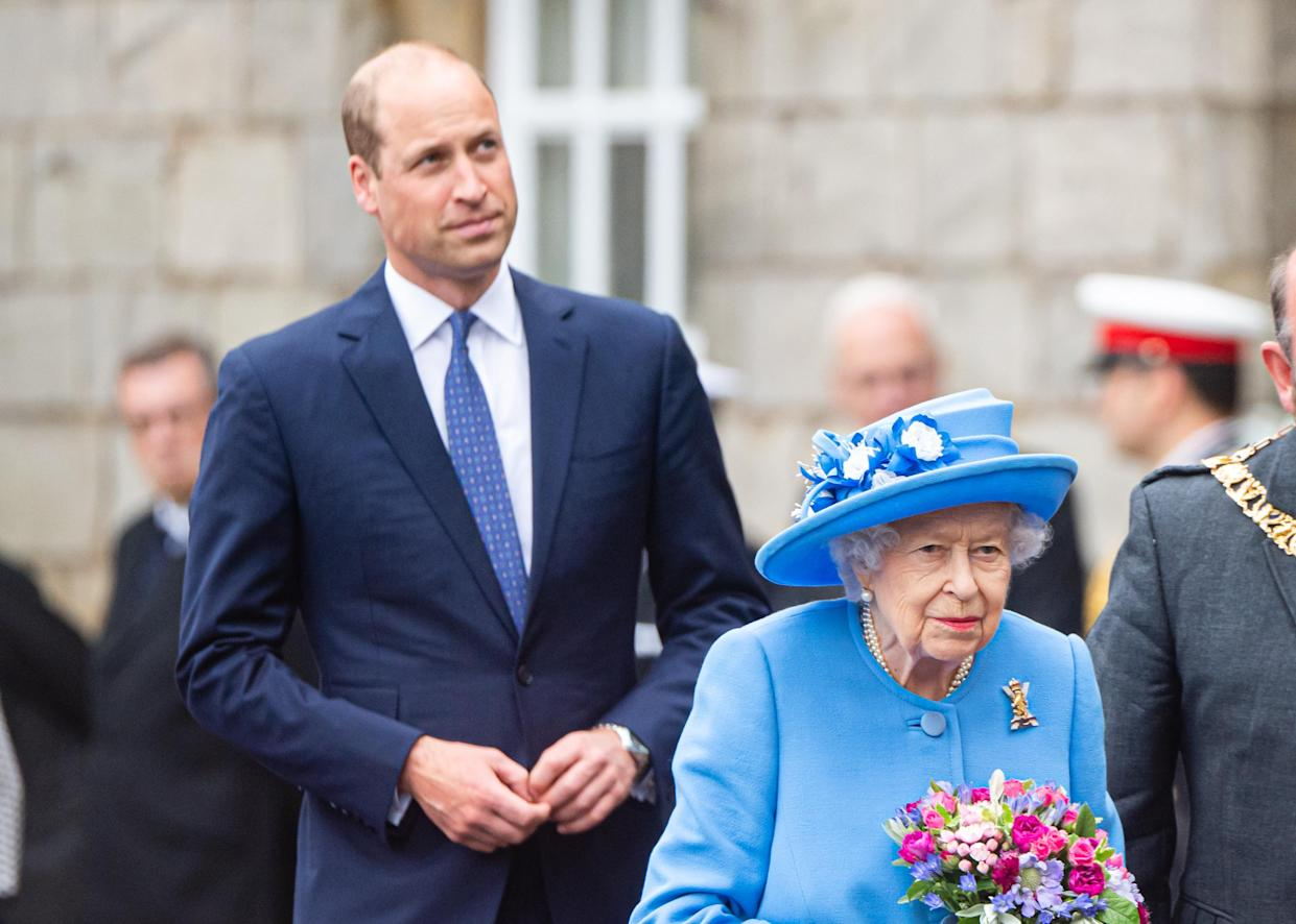 EDINBURGH, SCOTLAND - JUNE 28: Queen Elizabeth II and Prince William, Duke of Cambridge attend The Ceremony of the Keys at The Palace Of Holyroodhouse on June 28, 2021 in Edinburgh, Scotland. The Queen is visiting Scotland for Royal Week between Monday 28th June and Thursday 1st July 2021. (Photo by Samir Hussein - Pool/WireImage)