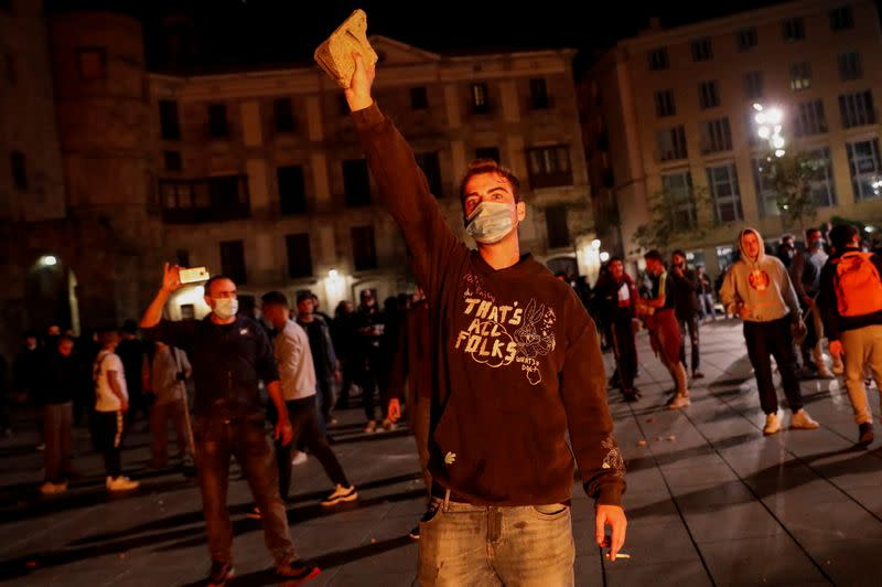 Protest against the closure of bars and gyms, amidst the coronavirus disease (COVID-19) outbreak, in Barcelona