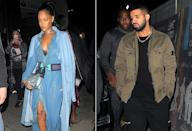 "<p>Drake followed Rihanna across the pond to London, but they weren't only hanging out on the stage. The duo hit the town together and reports surfaced they were definitely dating again. ""He still loves her and never stopped. Rihanna is the one that's been not wanting to settle down in the past,"" a source told <a href=""http://www.eonline.com/news/777366/rihanna-and-drake-are-dating-again-he-still-loves-her-and-never-stopped"" rel=""nofollow noopener"" target=""_blank"" data-ylk=""slk:E! News."" class=""link rapid-noclick-resp"">E! News.</a> ""They are having fun spending time with each other. Their music together got them close again."" (Photo: Splash News) </p>"
