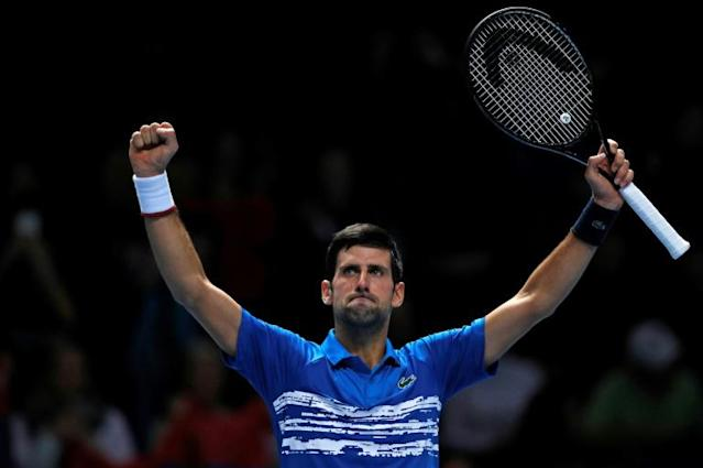 Novak Djokovic celebrates his straight-sets win over Italy's Matteo Berrettini at the ATP Finals (AFP Photo/Adrian DENNIS)
