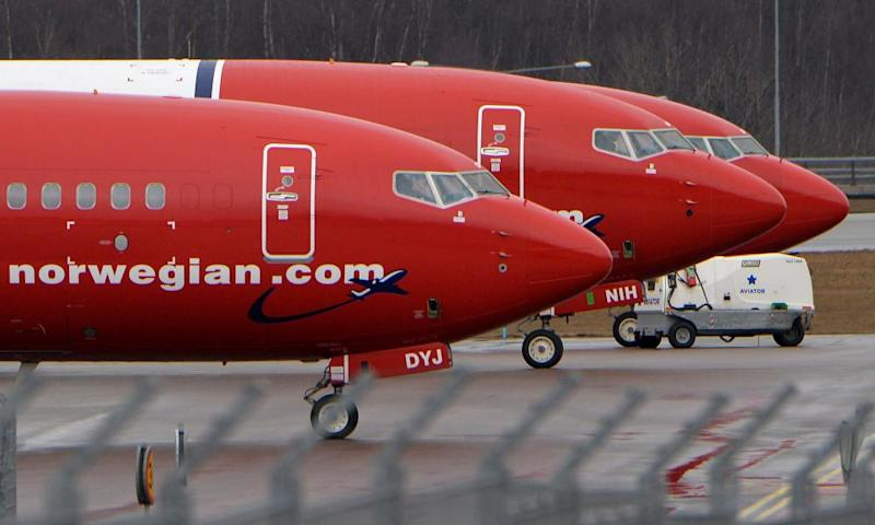 Parked Boeing 737-800 aircraft belonging to Norwegian Air