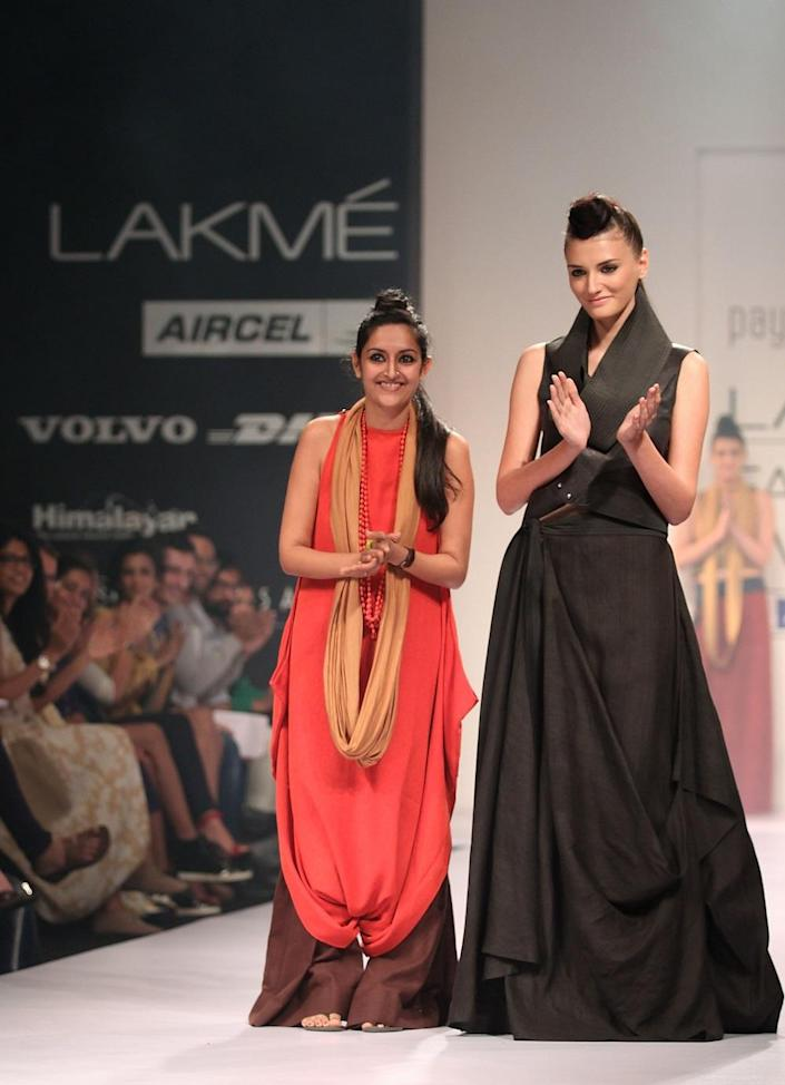 Payal Khandwala with a model at The Lakme Fashion Week Winter/Festive 2012 day 2 at the Grand Hyatt on August 4, 2012 in Mumbai, India.