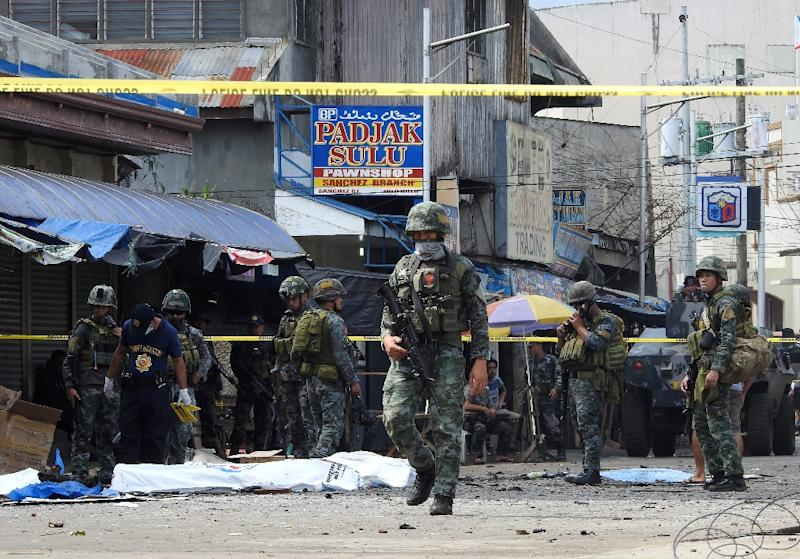 The southern island of Jolo has been plagued by violence, including the bombing of a cathedral this week (AFP Photo/NICKEE BUTLANGAN)