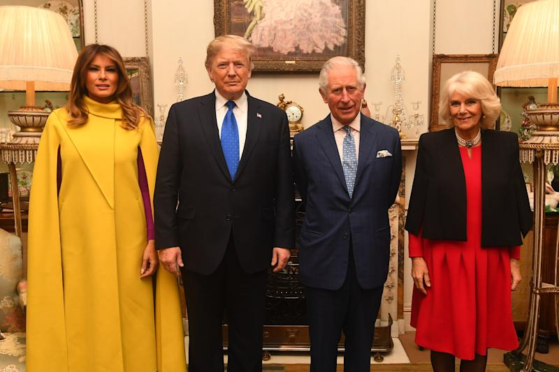 The Prince of Wales and the Duchess of Cornwall meets US President Donald Trump and wife Melania at Clarence House, central London, as Nato leaders gather to mark 70 years of the alliance.