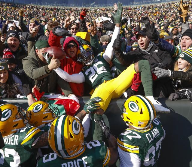 <p>Green Bay Packers' Bashaud Breeland (26) celebrates his interception that he returned for a touchdown during the first half of an NFL football game against the Atlanta Falcons, Sunday, Dec. 9, 2018, in Green Bay, Wis. (AP Photo/Mike Roemer) </p>