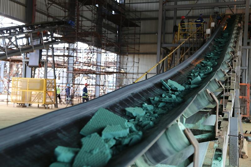 Raw cobalt at a processing plant in Lubumbashi. Demand for the mineral, especially in China, has sparked a surge in illegal mining in DR Congo (AFP Photo/SAMIR TOUNSI)