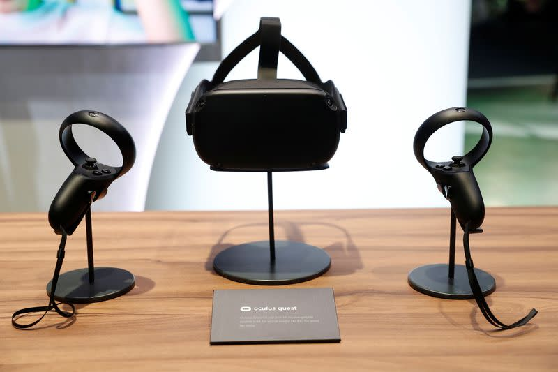 The Oculus Quest wireless virtual reality headset is seen on a display during Facebook Inc's F8 developers conference in San Jose
