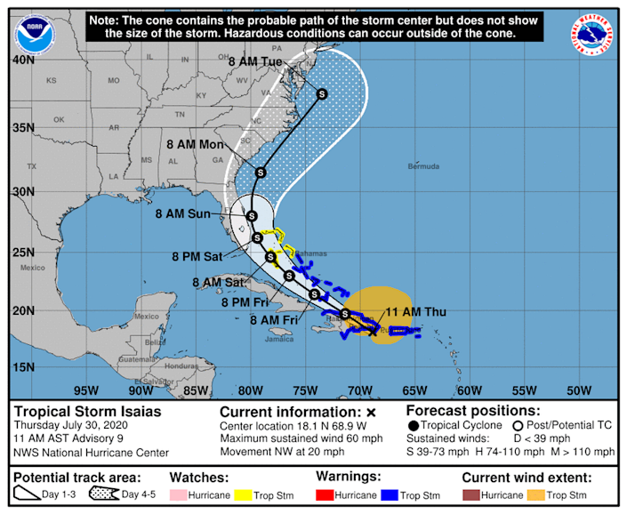 Tropical Storm Isaias is closing in on the Dominican Republic.
