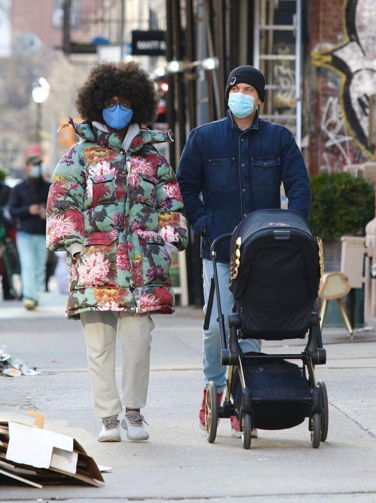 <p>The new mother took a stroll with her partner and newborn wearing the fashion world's 'buzziest' product - a Gucci x North Face puffer jacket.</p>