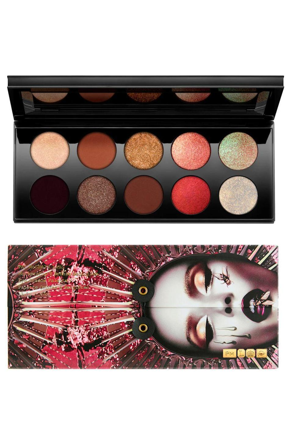 """<p><strong>PAT McGRATH LABS</strong></p><p>sephora.com</p><p><strong>$125.00</strong></p><p><a href=""""https://go.redirectingat.com?id=74968X1596630&url=https%3A%2F%2Fwww.sephora.com%2Fproduct%2Fmothership-v-eyeshadow-palette-P86825294&sref=https%3A%2F%2Fwww.cosmopolitan.com%2Fstyle-beauty%2Fbeauty%2Fg36596599%2Fbest-eyeshadow-palettes%2F"""" rel=""""nofollow noopener"""" target=""""_blank"""" data-ylk=""""slk:Shop Now"""" class=""""link rapid-noclick-resp"""">Shop Now</a></p><p>I love <a href=""""https://www.cosmopolitan.com/style-beauty/beauty/g15773998/best-drugstore-makeup-brands-products/"""" rel=""""nofollow noopener"""" target=""""_blank"""" data-ylk=""""slk:drugstore makeup"""" class=""""link rapid-noclick-resp"""">drugstore makeup</a>, so rarely do I say an expensive product is worth the money, but in this case, you'll want to start saving up right TF now because these eyeshadows are <em>rich</em> (and I mean that in all of the ways). Opening one of these luxe palettes is a surreal experience in and of itself (I still keep mine in the protective sleeves, not gonna lie), but getting your hands on the one-of-a-kind <strong>color-shifting shades and cream-infused powders</strong> is worth the price.</p>"""