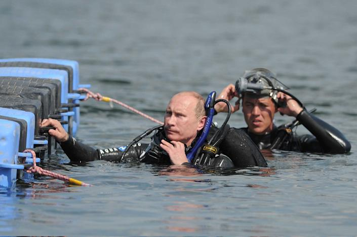 Russian goes scuba diving at an underwater archaeological site at in the Greek Black Sea on Aug. 10, 2011.