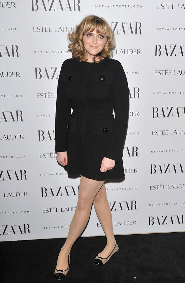 Sophie Dahl wore a cosy coat and flats.