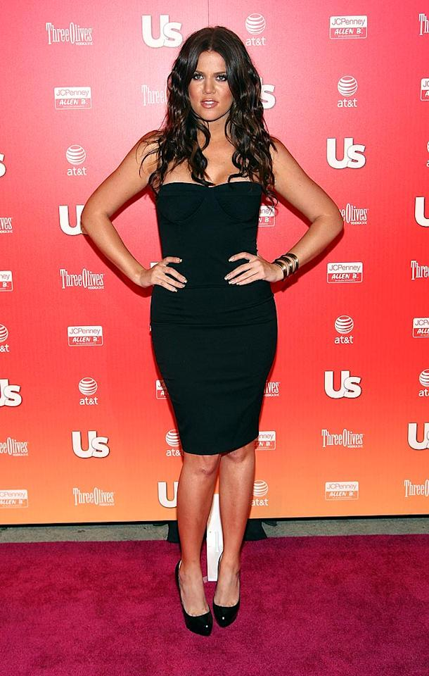 "Khloe Kardashian proved that she is as sexy as her big sisters in a form-fitting black bustier dress. Todd Williamson/<a href=""http://www.wireimage.com"" target=""new"">WireImage.com</a> - April 22, 2009"