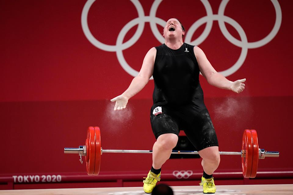 Laurel Hubbard competing in the women's +87kg weightlifting final (AP)