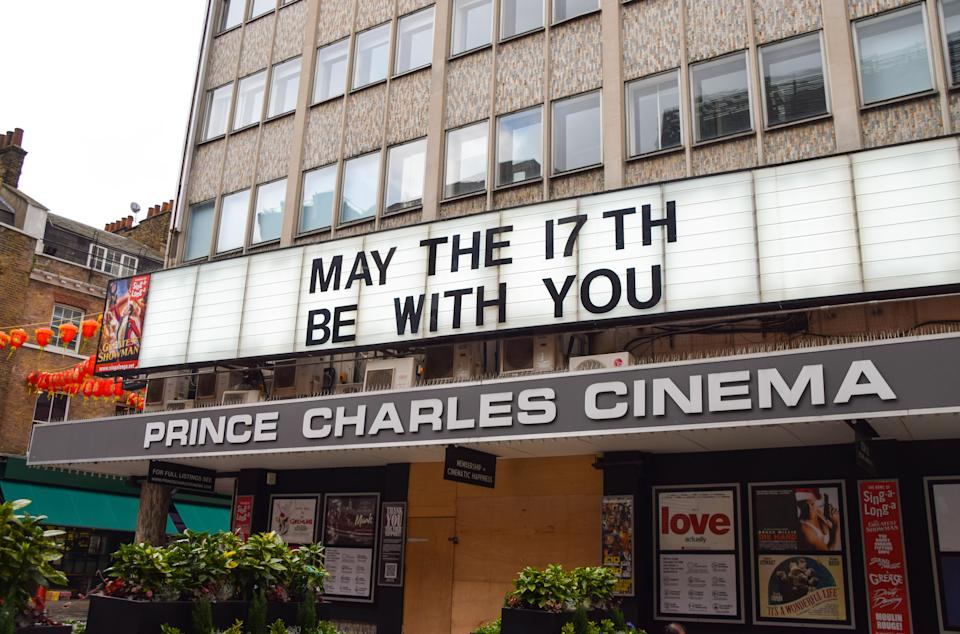 'May The 17th Be With You' displayed at Prince Charles Cinema in London's West End. Cinemas in England have been closed for much of the time since the start of the coronavirus pandemic, and are due to reopen on May 17th. (Photo by Vuk Valcic / SOPA Images/Sipa USA)