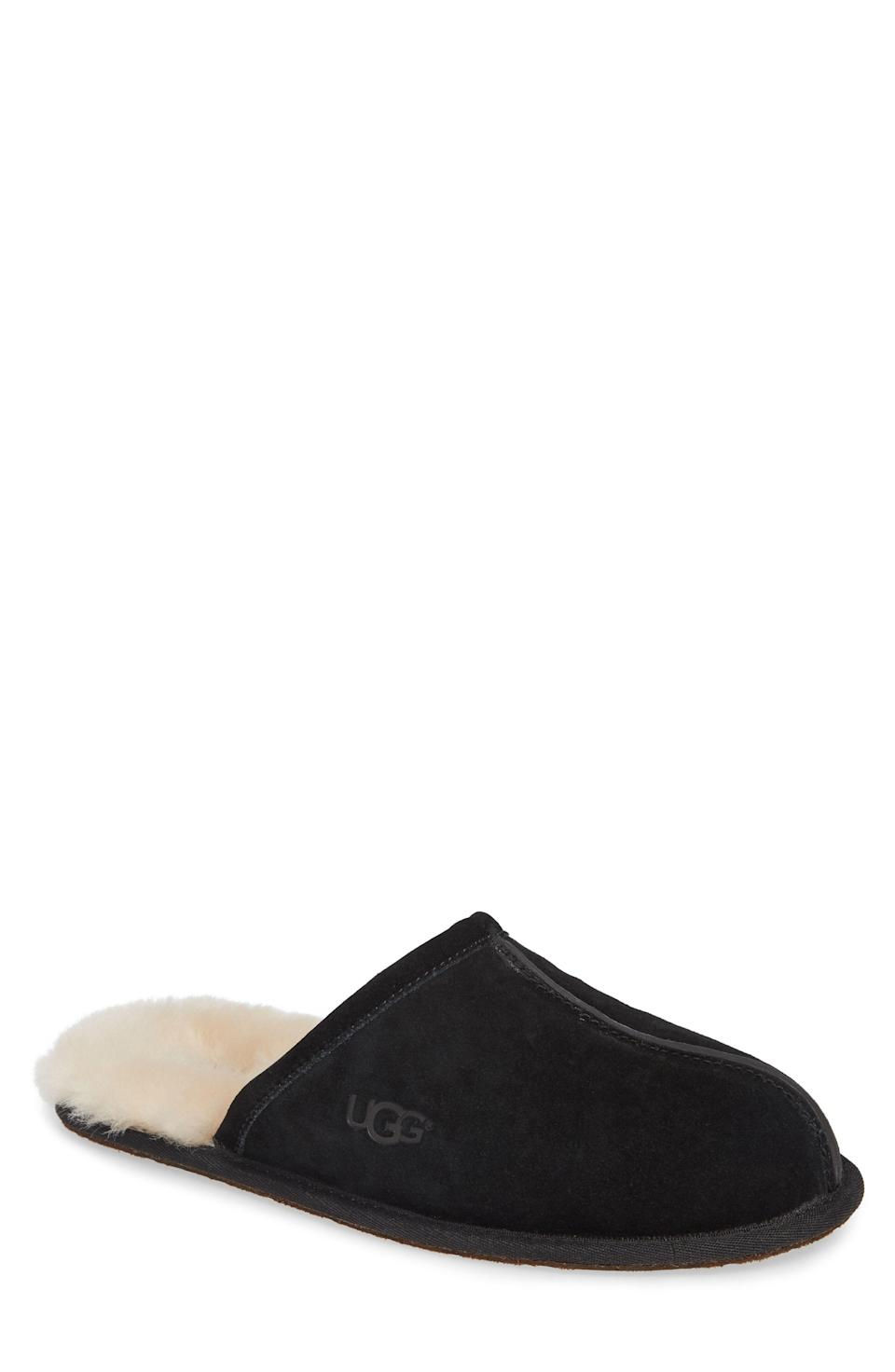 """<p><strong>UGG</strong></p><p>nordstrom.com</p><p><strong>$79.95</strong></p><p><a href=""""https://go.redirectingat.com?id=74968X1596630&url=https%3A%2F%2Fshop.nordstrom.com%2Fs%2Fugg-scuff-slipper-men%2F2777632&sref=https%3A%2F%2Fwww.townandcountrymag.com%2Fstyle%2Fmens-fashion%2Fnews%2Fg2335%2Fbest-fathers-day-gifts%2F"""" rel=""""nofollow noopener"""" target=""""_blank"""" data-ylk=""""slk:Shop Now"""" class=""""link rapid-noclick-resp"""">Shop Now</a></p><p>For the dad who spends a lot of time on his feet these <a href=""""https://www.townandcountrymag.com/style/mens-fashion/g31813514/best-slippers-for-men/"""" rel=""""nofollow noopener"""" target=""""_blank"""" data-ylk=""""slk:comfortable, cushioning slippers"""" class=""""link rapid-noclick-resp"""">comfortable, cushioning slippers</a> will be the perfect fit.</p>"""