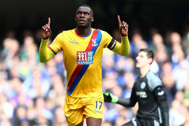 <p>Christian Benteke of Crystal Palace celebrates scoring his sides second goal during the Premier League match between Chelsea and Crystal Palace at Stamford Bridge </p>