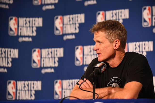 Golden State Warriors coach Steve Kerr thinks the NFL's new rule regarding player protests during the national anthem is 'idiotic.' (Getty)