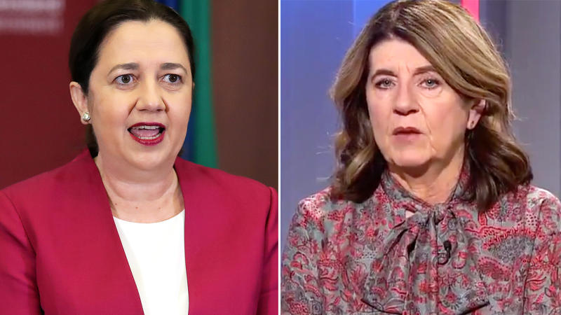 Annastacia Palaszczuk and Caroline Wilson, pictured here speaking to the media.