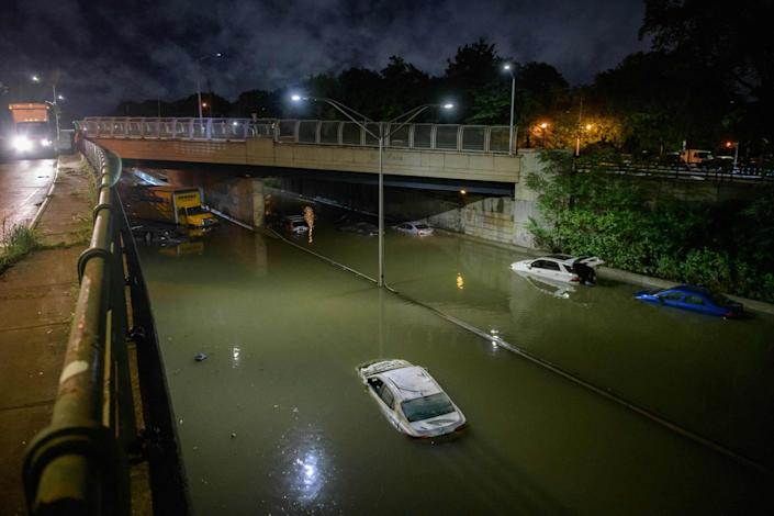 submerged cars in ida's floodwaters in brooklyn