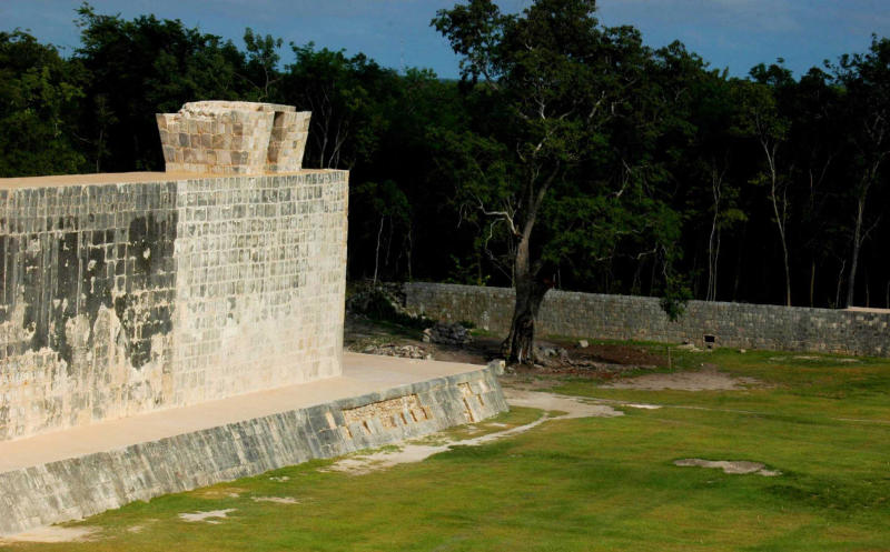 In this undated image released by Mexico's National Institute of Anthropology and History on Oct. 5, 2012, shows a section of a ceremonial ball court at the temples of Chichen Itza on the Yucatan Peninsula, Mexico. Mexican archaeologists say they have determined that the ancient Mayas built watchtower-style structures atop the ceremonial ball court to observe the equinoxes and solstices, and they said that the discovery adds to understanding of the many layers of ritual significance that the ball game had for the culture. (AP Photo/INAH)
