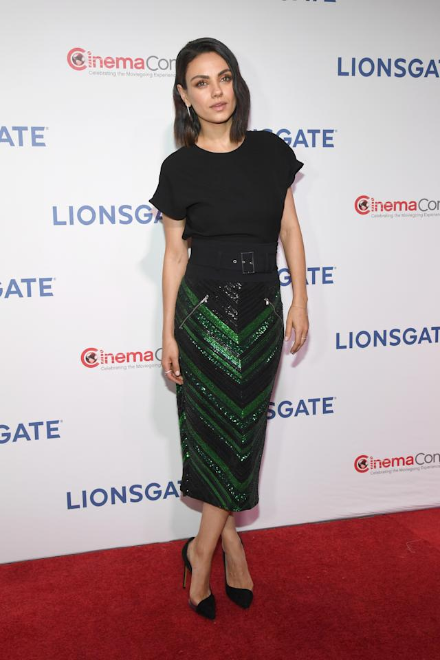 <p>The mum-of-one worked a look by Sally LaPointe at the Lionsgate presentation. <em>[Photo: Getty]</em> </p>