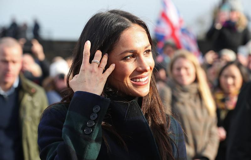 Meghan Markle wears a Catbird ring (on her index finger) during a visit to Scotland in February 2018. [Photo: Getty]