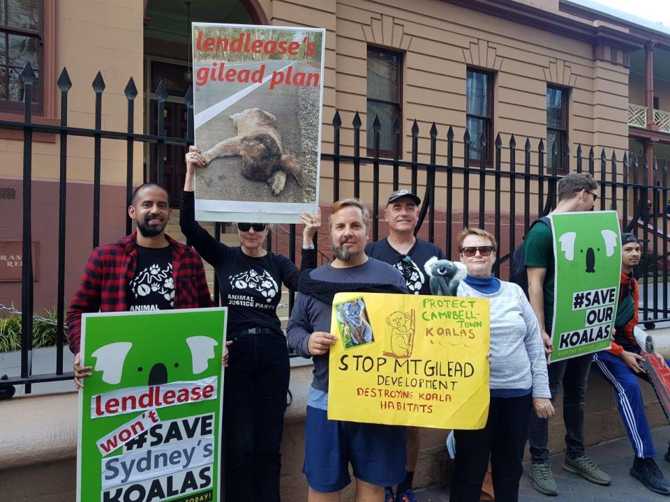 Protesters hold signs to protect koalas outside NSW parliament.