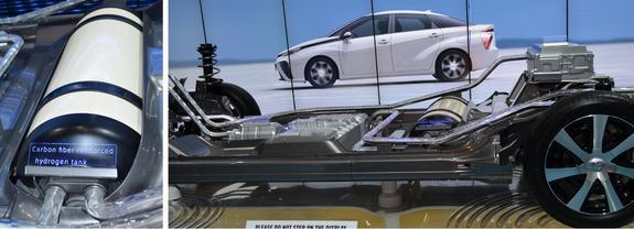 A hydrogen storage tank (left) used in the fuel-cell platform of the Toyota Mirai.