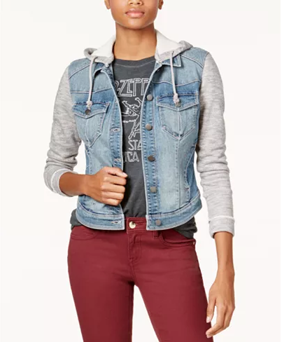 "<p><strong>Tinseltown</strong></p><p>macys.com</p><p><strong>$15.99</strong></p><p><a href=""https://go.redirectingat.com?id=74968X1596630&url=https%3A%2F%2Fwww.macys.com%2Fshop%2Fproduct%2Ftinseltown-juniors-french-terry-hooded-denim-jacket%3FID%3D4799421&sref=https%3A%2F%2Fwww.goodhousekeeping.com%2Fbeauty%2Ffashion%2Fg27890498%2Fdenim-jacket-outfits%2F"" rel=""nofollow noopener"" target=""_blank"" data-ylk=""slk:Shop Now"" class=""link rapid-noclick-resp"">Shop Now</a></p><p>Jacket with a hoodie? Perfect! Just throw it on over your favorite shirt and you're all set. </p>"