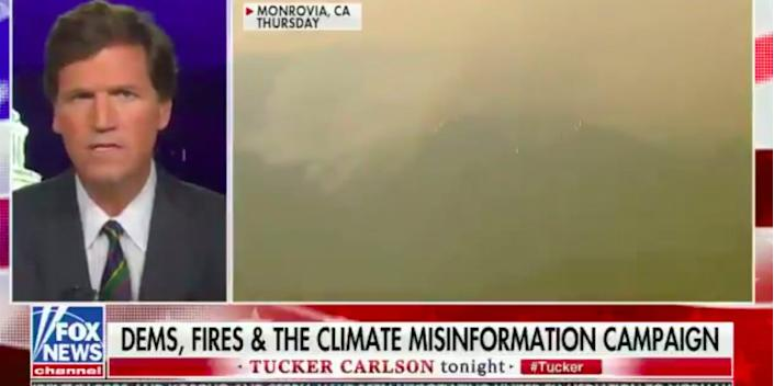 """Tucker Carlson speaks about the West Coast fires on """"Tucker Carlson Tonight"""", on September 11, 2020. <p class=""""copyright"""">Fox News</p>"""
