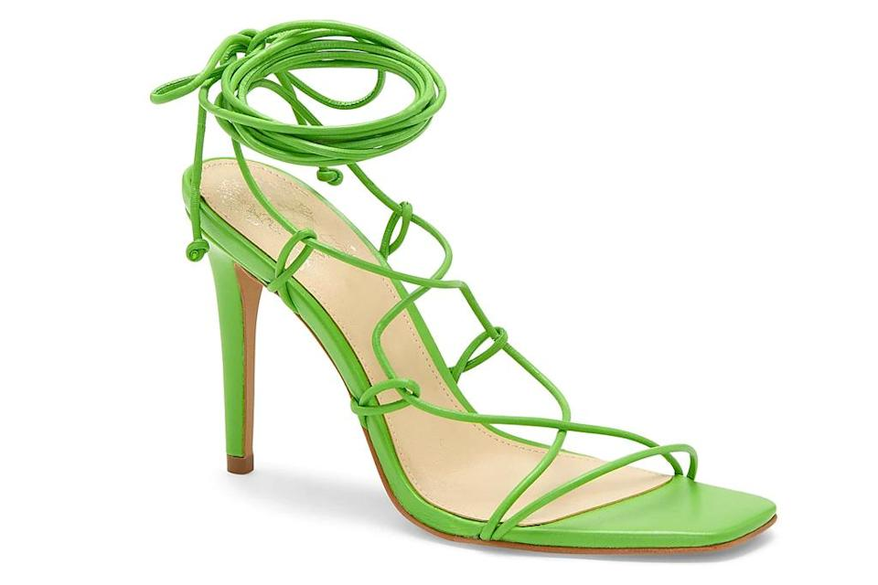 sandals, heels, ankle wrap, vince camuto