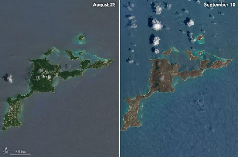 This image obtained from NASA shows the island of Virgin Gorda on August 25, 2017, (L) and after the passage of Hurricane Irma on September 10 (AFP Photo/HO)