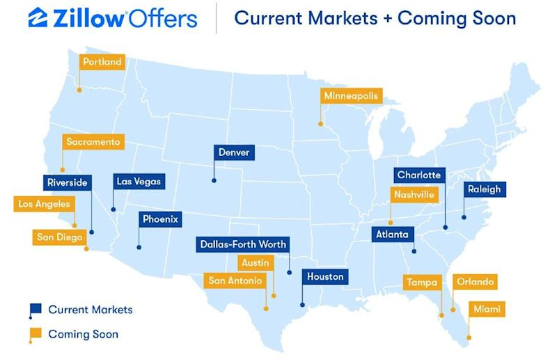 A map of the U.S. showing where Zillow Offers operates