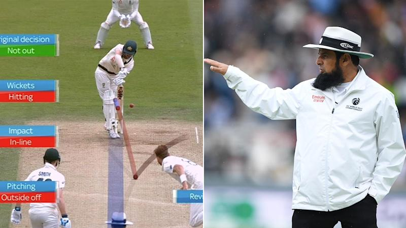 Travis Head was initially given not out by umpire Aleem Dar.