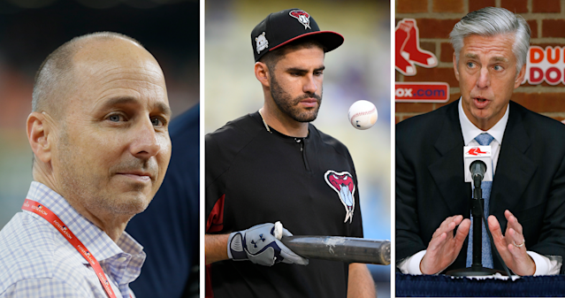 "The Winter Meetings have started in Florida and Brian Cashman's Yankees, <a class=""link rapid-noclick-resp"" href=""/mlb/players/9002/"" data-ylk=""slk:J.D. Martinez"">J.D. Martinez</a> and Dave Dombrowski of the Red Sox all figure to be big players. (AP)"