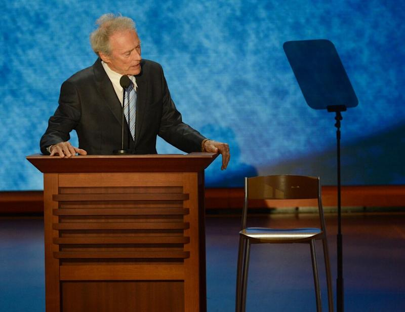 Clint Eastwood addressing an empty chair at the Republican National Convention in 2012. | Toni L. Sandys/The Washington Post via Getty
