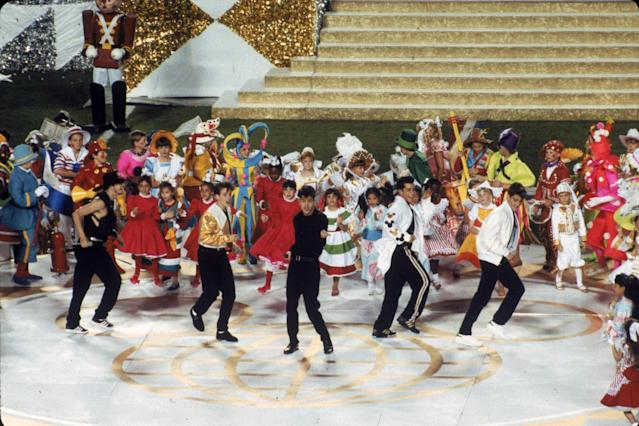 New Kids on the Block perform before the New York Giants take on the Buffalo Bills in Super Bowl XXV at Tampa Stadium on Jan. 27, 1991, in Tampa. The Giants defeated the Bills 20-19. (Photo by Gin Ellis/Getty Images)