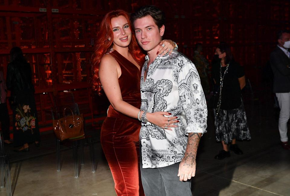 <p>Bella Thorne and Benjamin Mascolo cozy up ahead of the Etro fashion show during Milan Fashion Week in Italy on Sept. 23.</p>