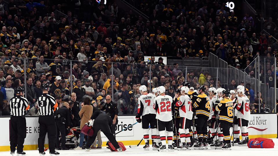 Ottawa Senators forward Scott Sabourin is expected to be released from hospital Sunday after suffering a gruesome injury against the Boston Bruins. (Brian Fluharty-USA TODAY Sports)