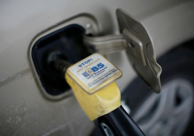 FILE PHOTO: FILE PHOTO: E85 Ethanol biodiesel fuel is shown being pumped into a vehicle at a gas station in Nevada, Iowa