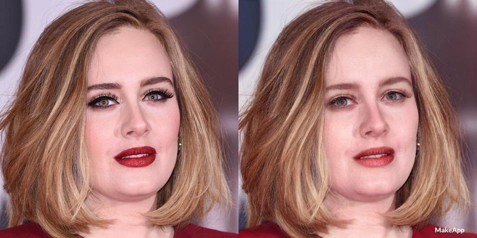 <p>And Adele still smoking on the red carpet sans makeup. </p>