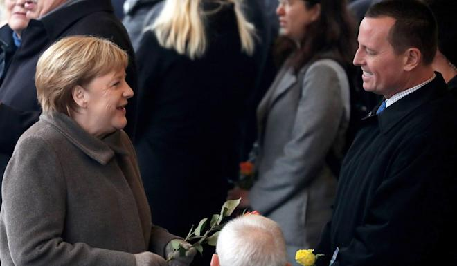 German Chancellor Angela Merkel and US ambassador to Germany Richard Grenell at the celebration of the 30th anniversary of the fall of the Berlin Wall on November 9. Photo: EPA-EFE