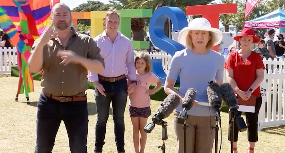 Queensland held a press conference at Redcliffe KiteFest and announced no new Covid cases. Source: ABC