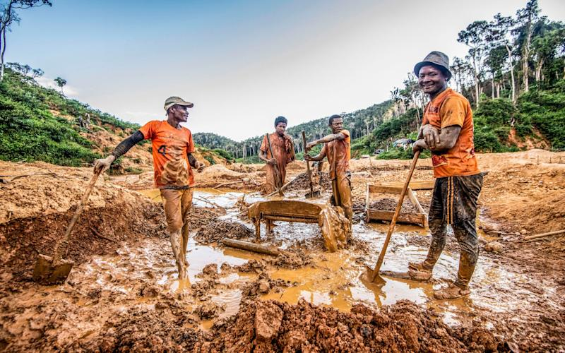 An illegal sapphire mine in a Madagascan conservation zone which is used to generate carbon credits but has seen a rise in deforestation - Paul Grover/The Telegraph
